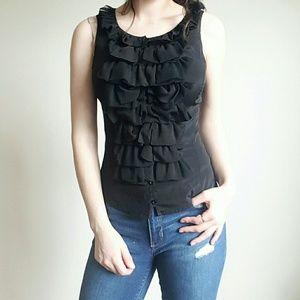 Bebe black ruffle tank top blouse